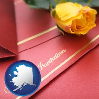 alaska a wedding invitation, with a yellow rose