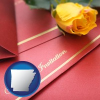 arkansas a wedding invitation, with a yellow rose