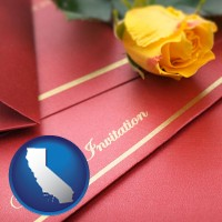 california a wedding invitation, with a yellow rose