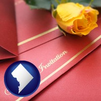 washington-dc a wedding invitation, with a yellow rose