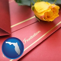 florida a wedding invitation, with a yellow rose