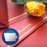 iowa a wedding invitation, with a yellow rose