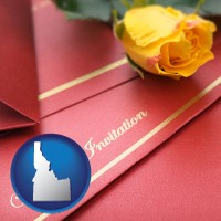 idaho a wedding invitation, with a yellow rose
