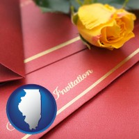 illinois a wedding invitation, with a yellow rose