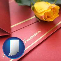 indiana a wedding invitation, with a yellow rose