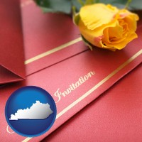 kentucky a wedding invitation, with a yellow rose