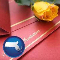 massachusetts a wedding invitation, with a yellow rose