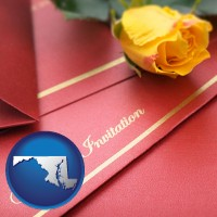 maryland a wedding invitation, with a yellow rose