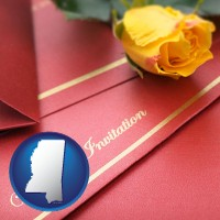 mississippi a wedding invitation, with a yellow rose