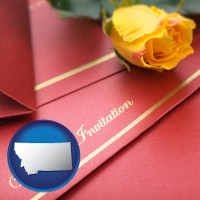 montana a wedding invitation, with a yellow rose