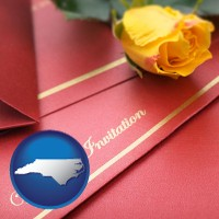 north-carolina a wedding invitation, with a yellow rose