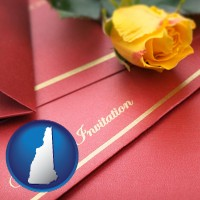 new-hampshire a wedding invitation, with a yellow rose