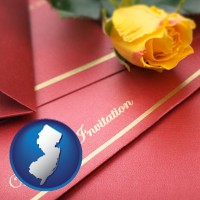 new-jersey a wedding invitation, with a yellow rose