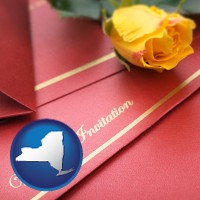 new-york a wedding invitation, with a yellow rose