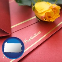 pennsylvania a wedding invitation, with a yellow rose