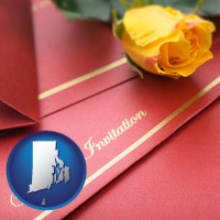 rhode-island a wedding invitation, with a yellow rose