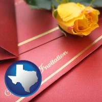 texas a wedding invitation, with a yellow rose