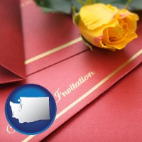 washington a wedding invitation, with a yellow rose