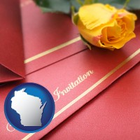 wisconsin a wedding invitation, with a yellow rose